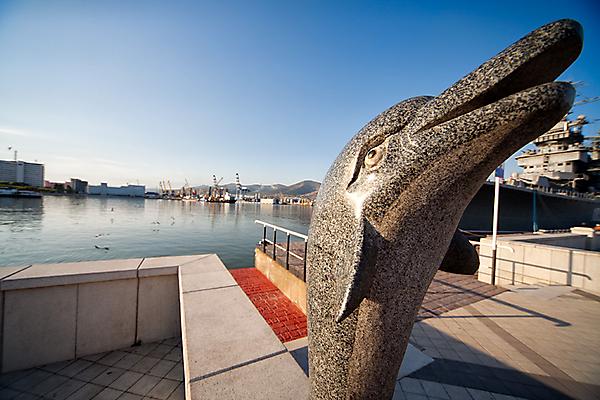 Памятник дельфину, выпрыгивающему из воды